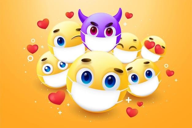 Realistische emoji met gezichtsmaskerachtergrond