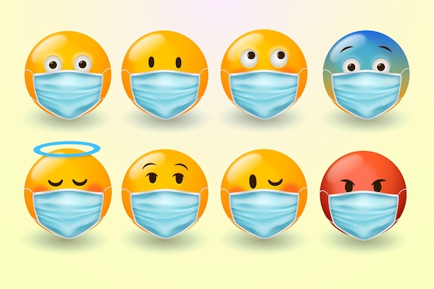 Realistische emoji met gezichtsmaskers