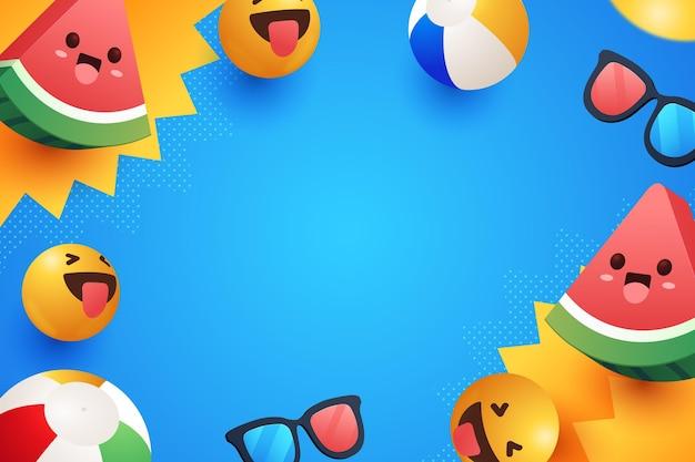 Realistische emoji zomer achtergrond