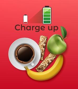 Realistische energetica die met eiwitreep, koffiekopje, appel en banaan op rode achtergrond met volledig batterijpictogram wordt geplaatst