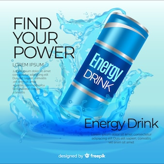 Realistische energy drink advertentie