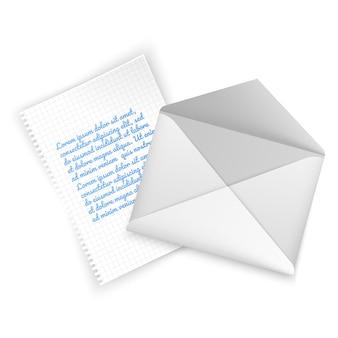 Realistische envelop van witte kleur, open envelop met brief.