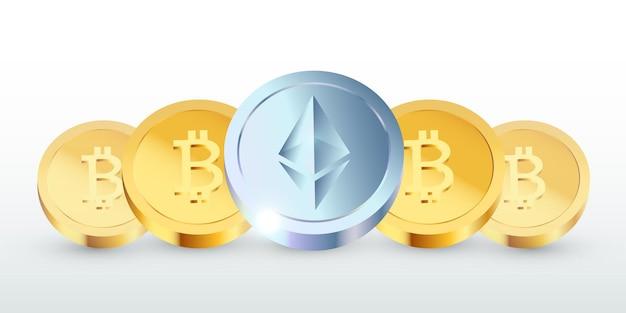 Realistische ethereum- en bitcoin-munten die op een rij staan