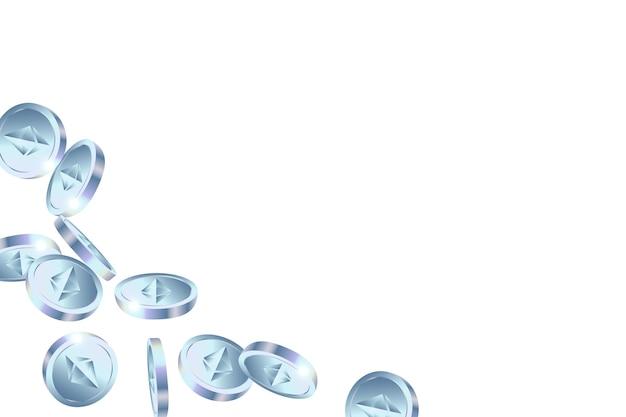 Realistische ethereum-munten op witte achtergrond