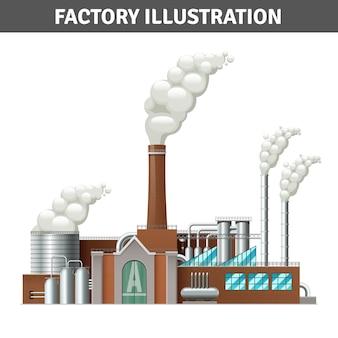 Realistische fabrieksbouwillustratie met stoom en koelsysteem