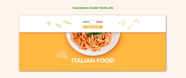 Realistische facebook-omslag voor eten