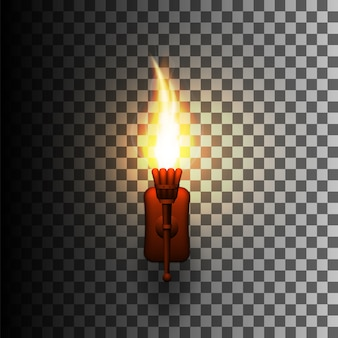 Realistische fakkel met vuur op de muur.