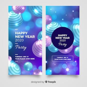 Realistische feestbanners voor het nieuwe jaar 2020