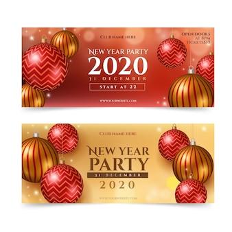 Realistische feestbanners voor het nieuwe jaar 2021