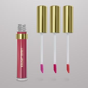 Realistische, felroze vloeibare lippenstift met een vleugje lippenstift. 3d-afbeelding, trendy cosmetisch ontwerp