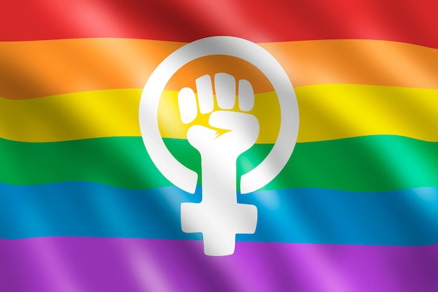 Realistische feministische lgbt-vlagillustratie