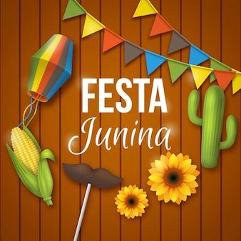 Realistische festa junina-achtergrond