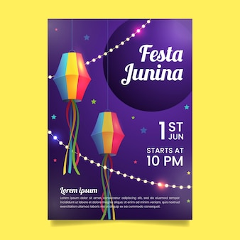 Realistische festa junina flyer-sjabloon