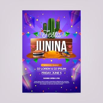 Realistische festa junina-flyer