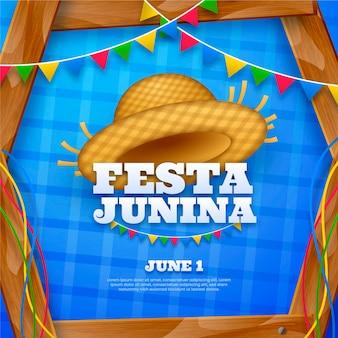 Realistische festa junina-illustratie