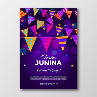 Realistische festa junina poster sjabloon concept