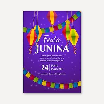 Realistische festa junina poster sjabloon