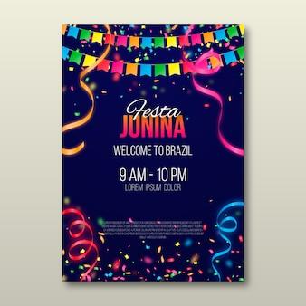 Realistische festa junina-poster