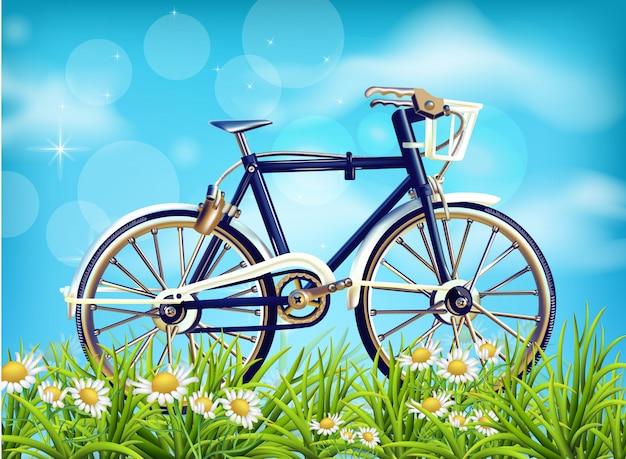 Realistische fiets lente achtergrond