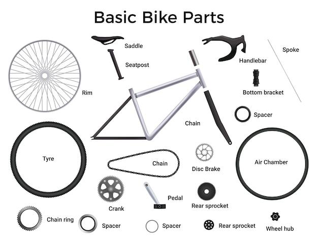 Realistische fietsonderdelen die met geïsoleerde illustratie worden geplaatst