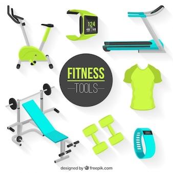 Realistische fitness gereedschappen pak