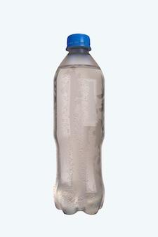 Realistische fles koud water met geïsoleerde waterdruppels.