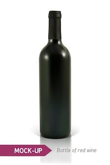 Realistische fles rode wijn op een witte achtergrond met reflectie en schaduw. sjabloon voor wijnetiket.