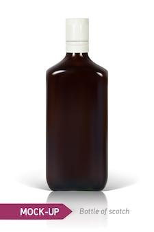 Realistische fles scotch op een witte achtergrond met reflectie en schaduw.