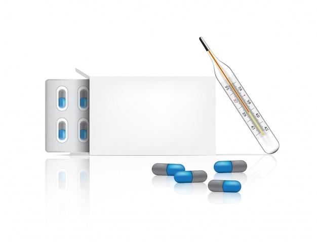 Realistische flescapsules geneeskunde met doosverpakking en thermometer