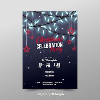 Realistische flyer-sjabloon voor kerstfeest