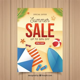 Realistische flyer voor de zomeruitverkoop