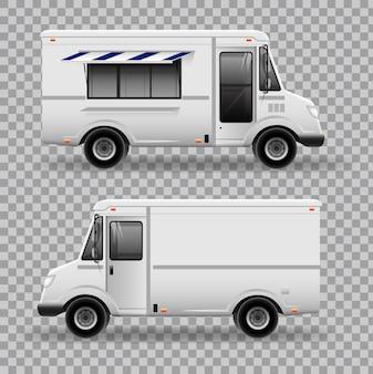Realistische food truck. uitzicht vanaf de zijkant.