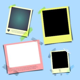 Realistische fotolijst met schaduw, lege lege fotografie momentopname met plakband.