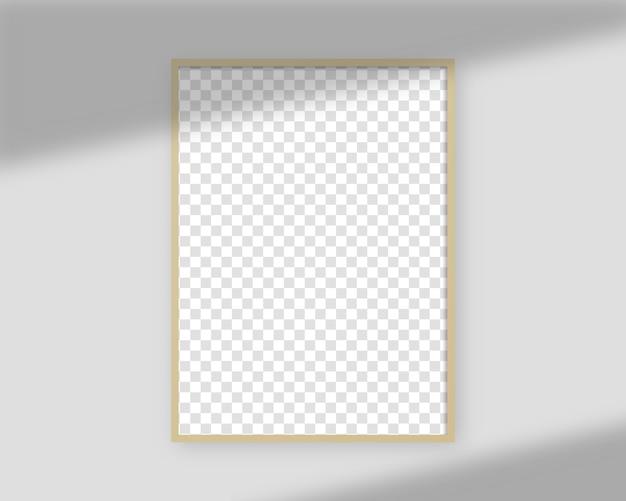 Realistische fotolijst met schaduwoverlay. leeg afbeeldingsframe sjabloon. geïsoleerd. sjabloonontwerp. realistische afbeelding.