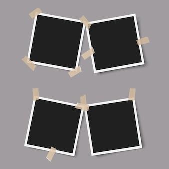 Realistische fotolijsten met schaduwen met plakband op grijs