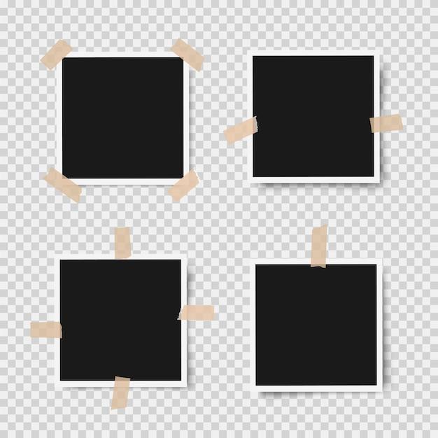 Realistische fotolijsten met schaduwen met plakband