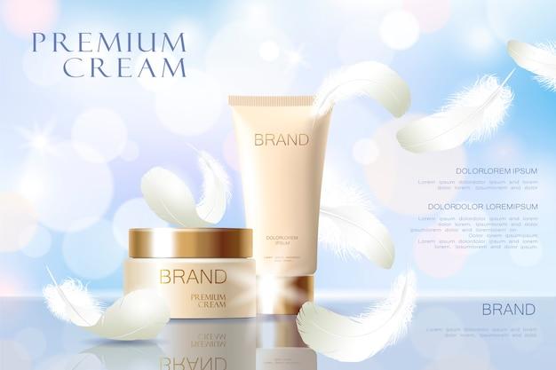 Realistische foundation huidskleur. buis container gouden cosmetische licht. advertentie sjabloon