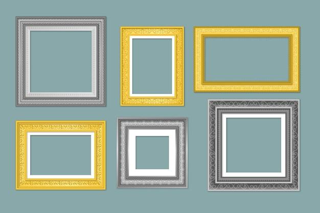 Realistische frame-collectie in vintage stijl