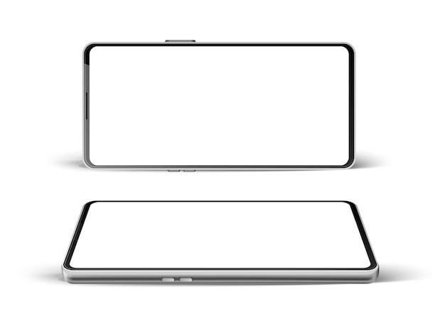 Realistische frameloze smartphoneset. lege moderne telefoon sjabloon mobiele gadget met touchscreen. leeg scherm digitaal apparaat voor multimedia.