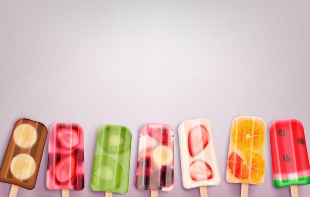 Realistische fruit ijsjes ijs met bevroren stok lekkernijen van verschillende smaak en smaak