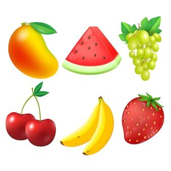Realistische fruitcollectie