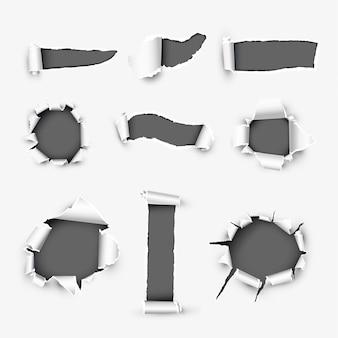 Realistische gaten in wit papier