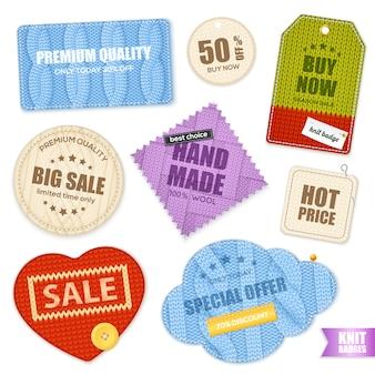 Realistische gebreide badges labels collectie