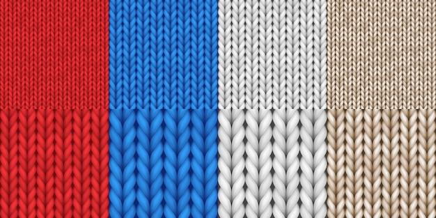 Realistische gebreide texturen naadloze patronen set. gedetailleerde wollen textielstijl van achtergrond voor banner of behang. 3d vectorillustratie