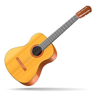 Realistische gedetailleerde akoestische gitaar hout muziekinstrument voor blues, jazz of rock. vector illustratie