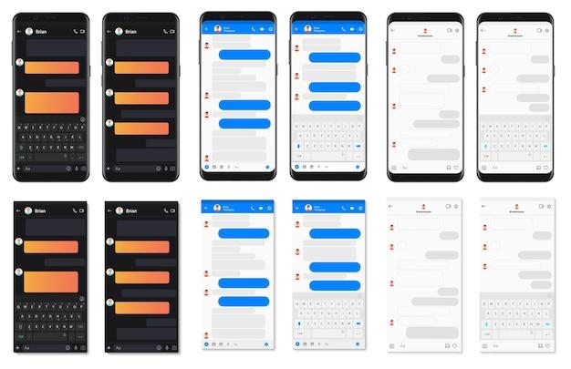 Realistische gedetailleerde app-sjabloon voor het chatten van smartphones
