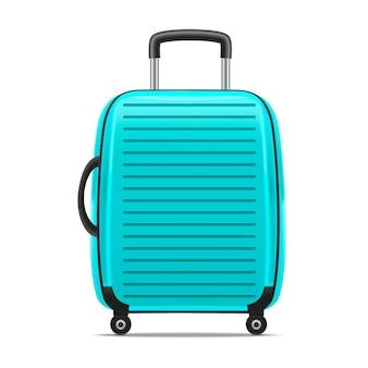 Realistische gedetailleerde blauwe koffer of koffer met handvat geïsoleerd.