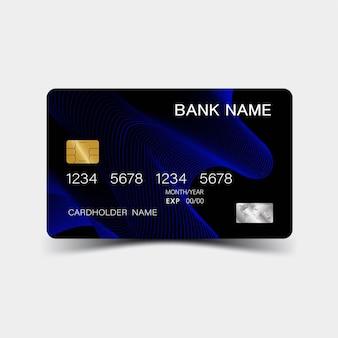 Realistische gedetailleerde creditcards met inspiratie van de abstracte blauwe en zwarte kleur op het grijs