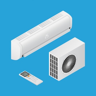 Realistische gedetailleerde isometrische 3d-airconditioning voor thuis