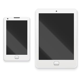 Realistische gedetailleerde witte tablet en telefoon elektronische communicatietechnologie apparaat, digitale schermweergave. vector illustratie